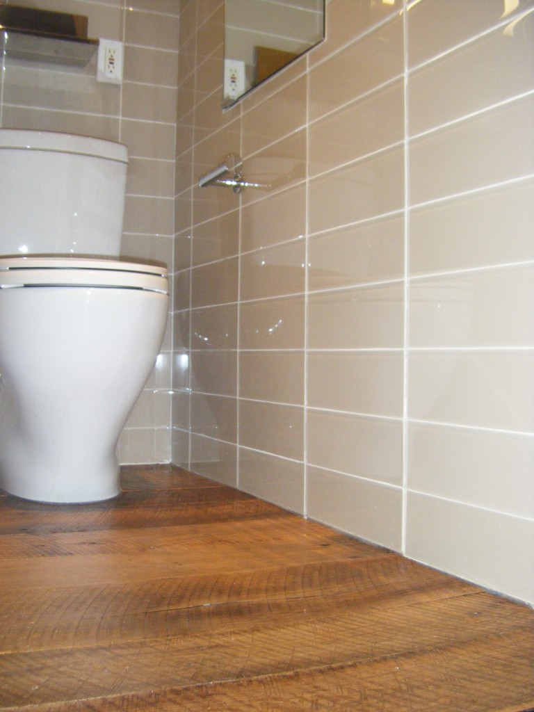 Simple Faux Wood Ceramic Tile In The Bathroom Easy To Clean And Still Gets