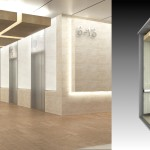 Left: Elevator Lobby View. Right: Elevator Cab Detail
