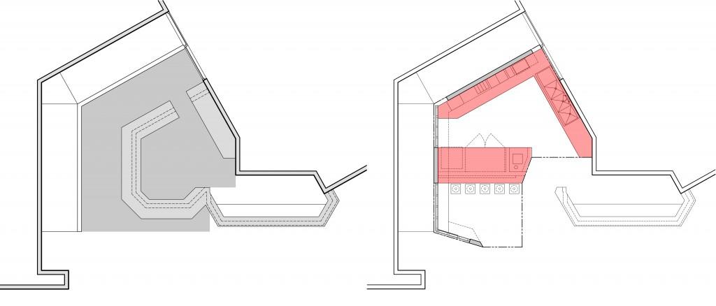 Left: Existing Floor Plan.  Right: Proposed Floor Plan